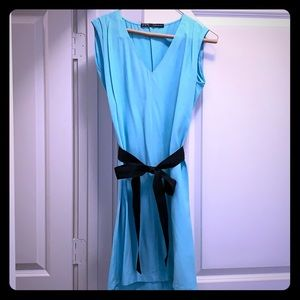 Light blue tie front dress